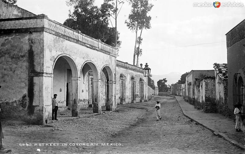 Casa de los Camilos y Barrio de la Conchita, en Coyoacán (por William Henry Jackson, c. 1888)