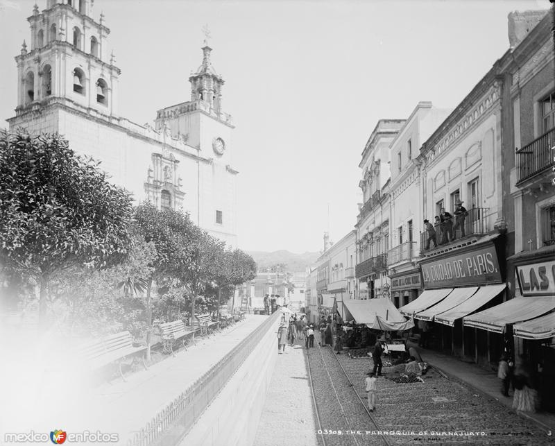 Parroquia de Guanajuato (por William Henry Jackson, c. 1888)