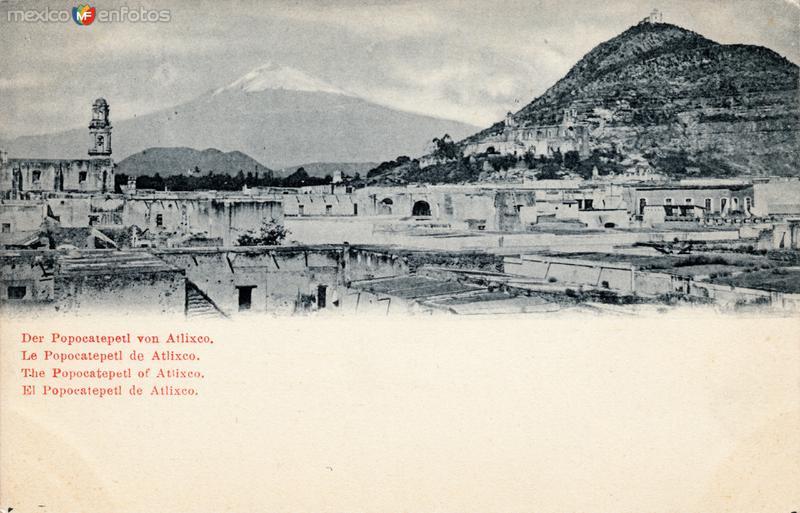 Vista del Popocatépetl, desde Atlixco