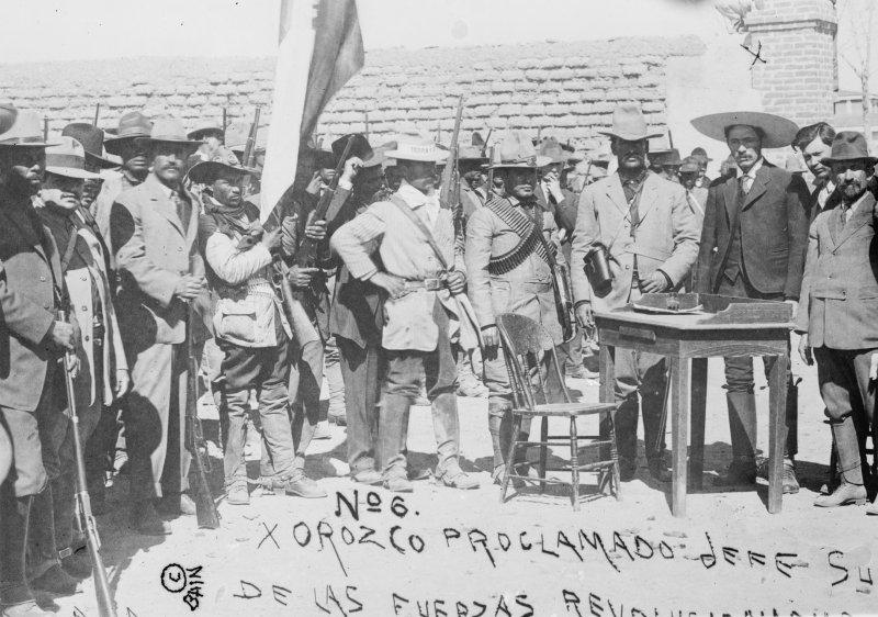 Abraham González, Pascual Orozco, Rodolfo Fierro y Francisco I. Madero en la Hacienda de Bustillos, Chihuahua