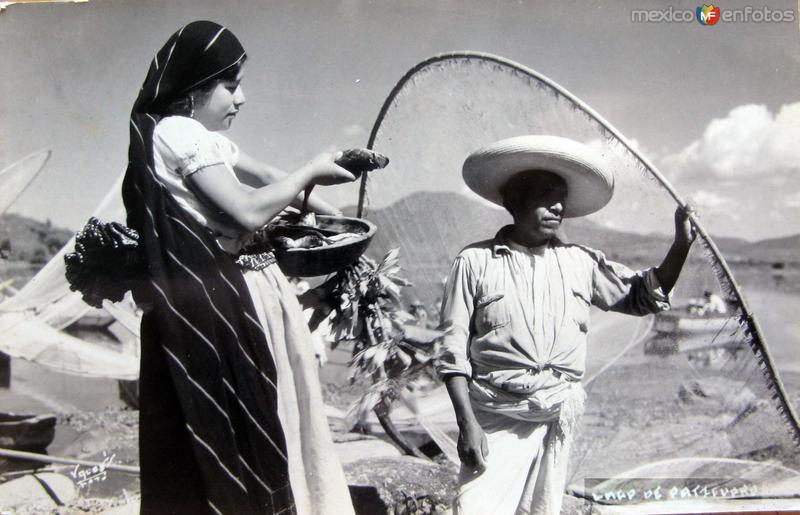 PESCADORES EN EL LAGO Hacia 1945