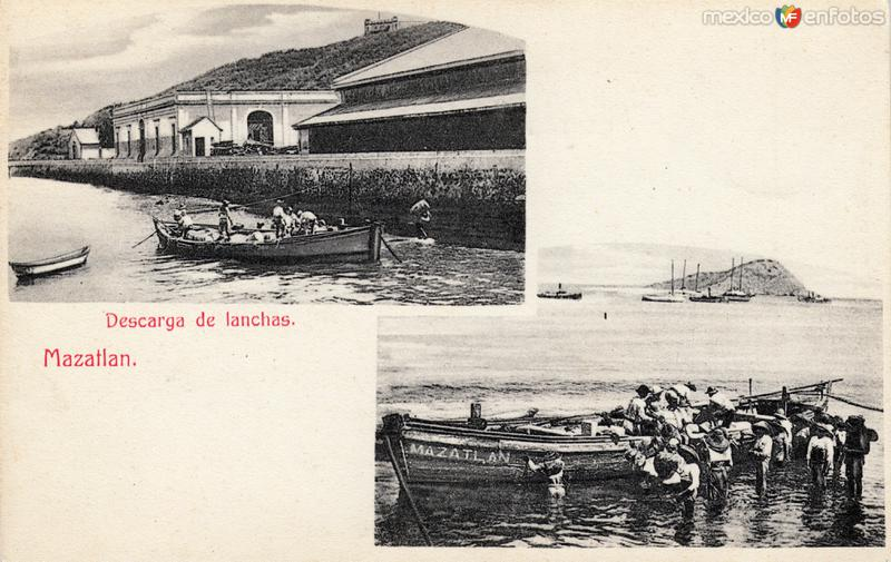 Descarga de lanchas en Mazatlán