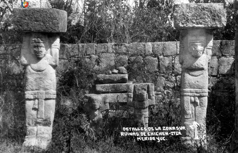Detalles en la zona sur de Chichén Itzá