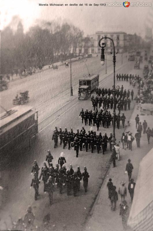 Morelia Michoacan en desfile del 16 de Sep-1912