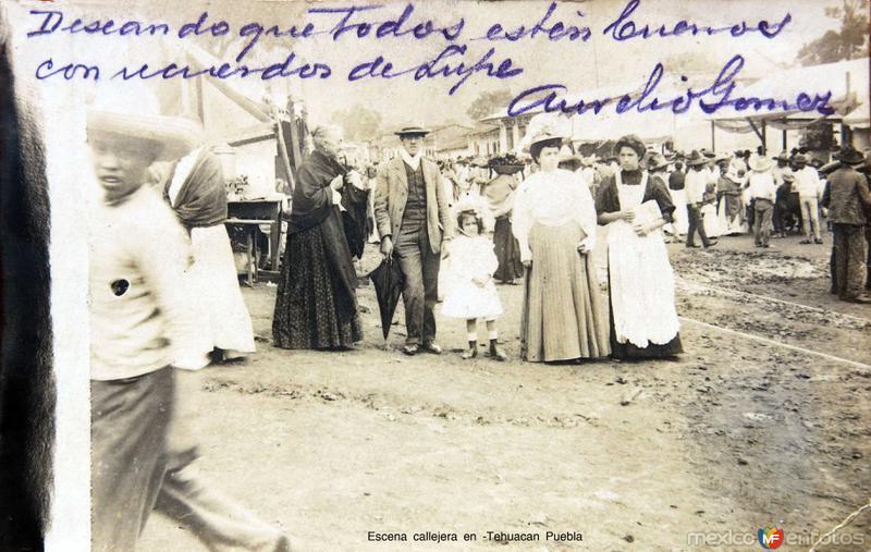 Escena callejera en -Tehuacan Puebla circa 1910-1920