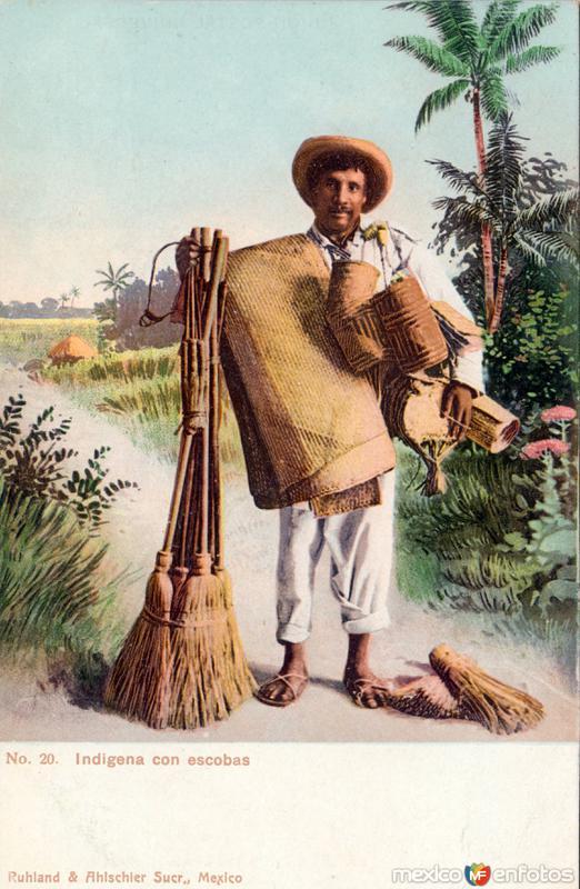 Indígena con escobas