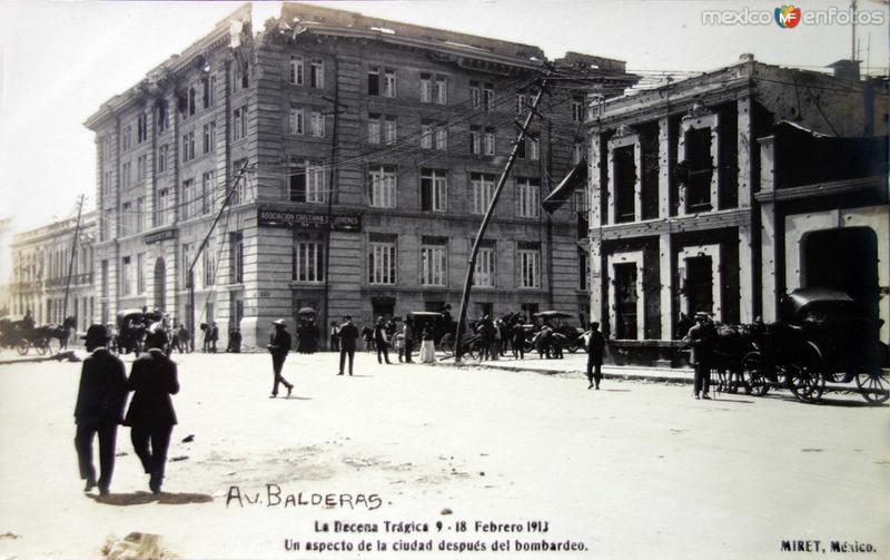 Calle Balderas Durante la Decena Tragica del 9 al 18 de Febrero de 1913.