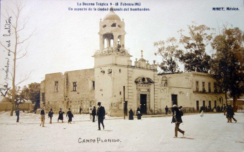 Un aspecto despues del Bombardeo durante La Decena Tragica del 9 al 18 de Febrero de 1913.