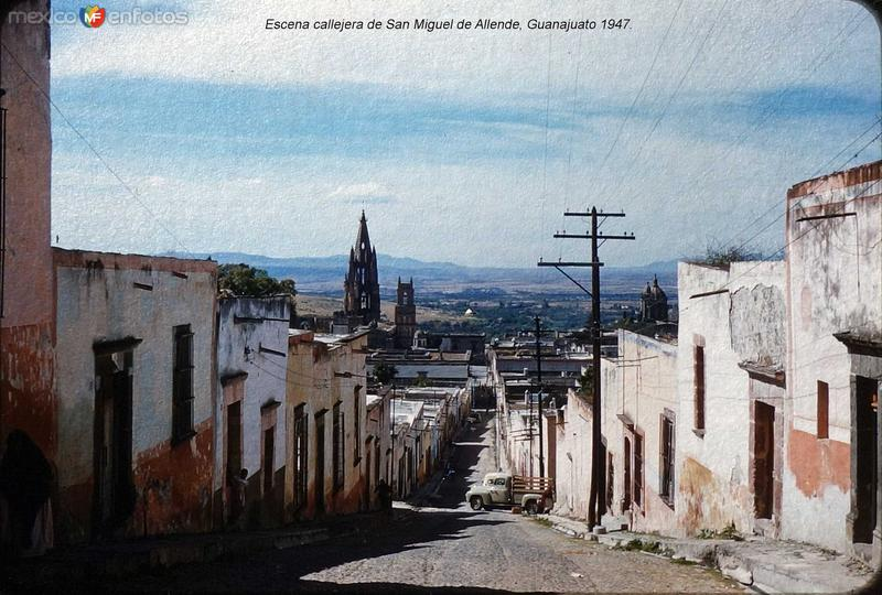 Escena callejera de San Miguel de Allende, Guanajuato (c. 1953).