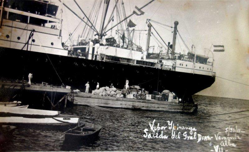 Salida del Pte. Porfirio Diaz en el Barco Ypiranga  ( El 31 de Mayo de 1911 ).