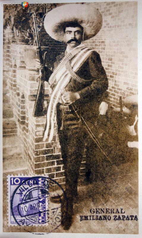 Emiliano Zapata en postal MAXIMA ( Circulada el 10 de Abrilde 1937 )