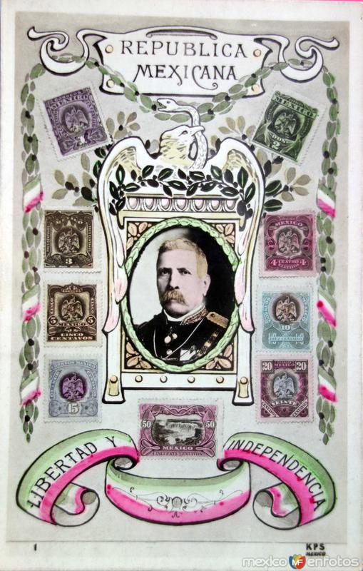 Postal de Porfirio Díaz en conmemoracion del Primer Centenario de la Independencia de Mexico.