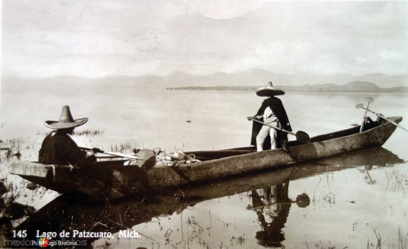 El Lago de Patzcuaro Por el fotografo Hugo Brehme ( Circulada el 11 de Enero de 1928 ).
