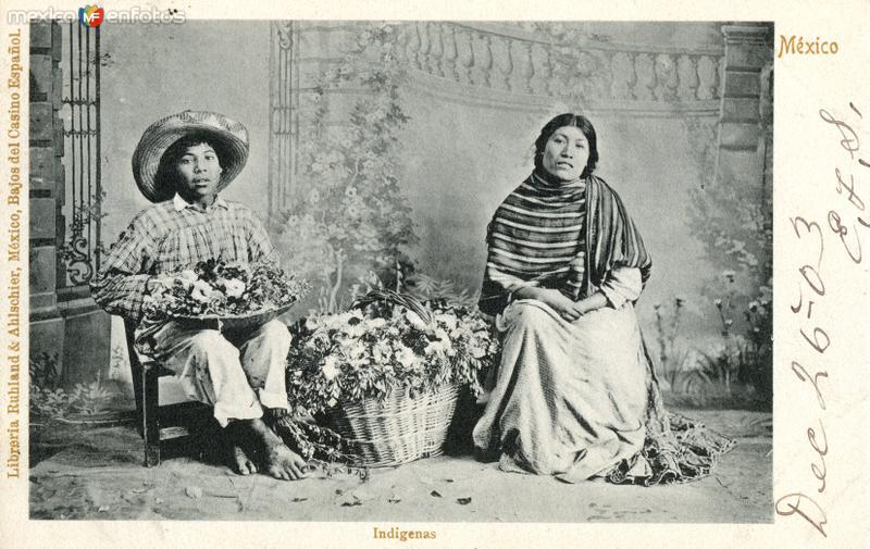 Vendedores indígenas de flores