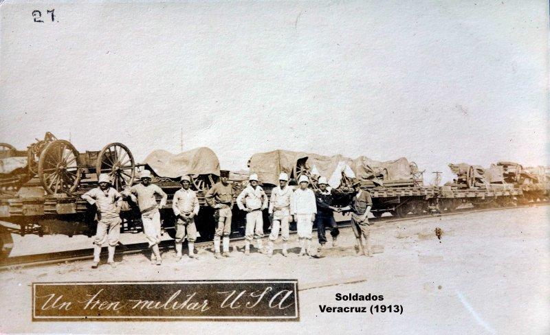 Un tren militar de USA en Veracruz (1914)