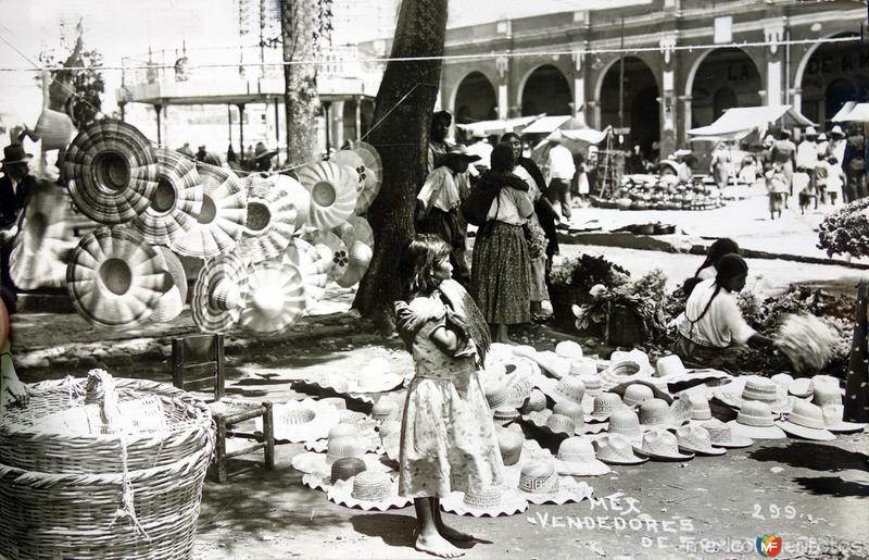 Tipos mexicanos vendedores de sombreros. ( Circulada el 29 de Noviembre de 1935 ).