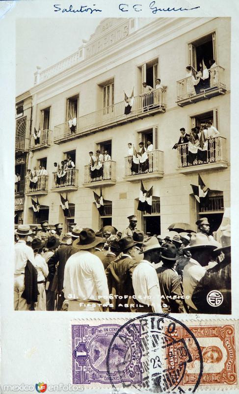 La oficina postal en las fiestas de Abril de 1923. ( Circulada el 1 de Junio de 1923 ).
