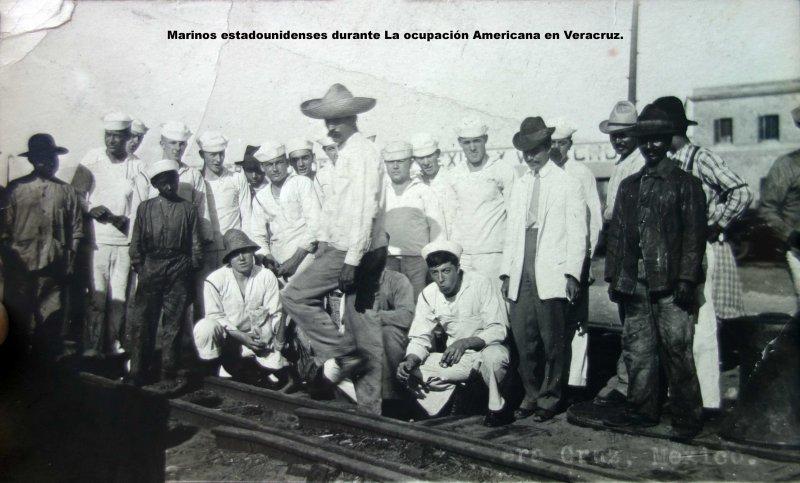 Marinos estadounidenses durante La ocupación Americana en Veracruz.