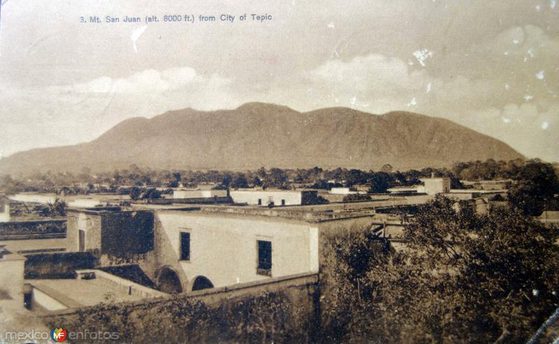 Monte San Juan vista desde Tepic ( Circulada el 30 de Agosto de 1908 ).