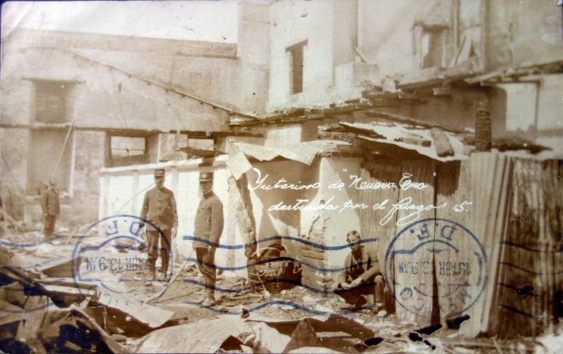 Interior del Periodico Nueva Era destruido por el fuego durante La Revolucion Mexicana ( Circulada el 18 de Marzo de 1913 ).