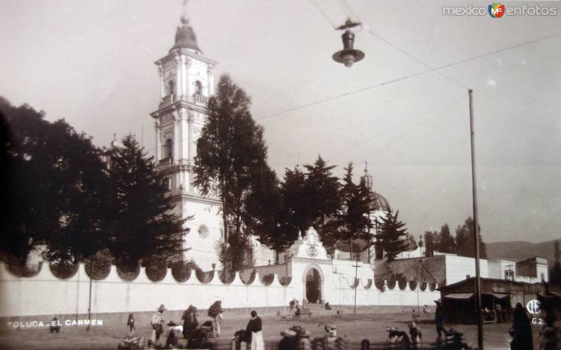 Templo de El Carmen Toluca ( Circulada el 16 de Diciembre de 1920 ).