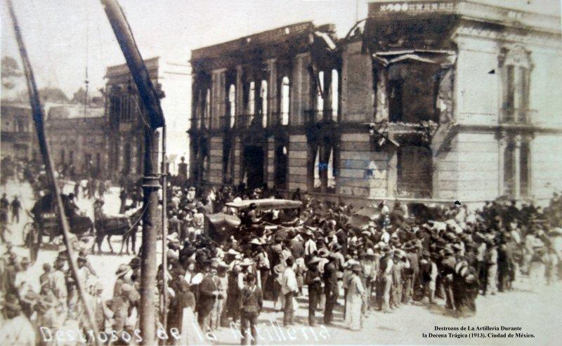 Destrozos de La Artilleria durante La Decena Tragica.