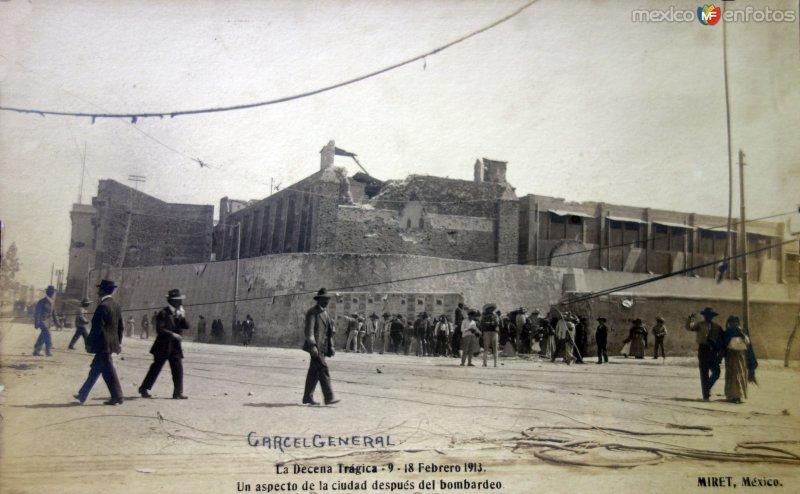 Un aspecto de La Carcel Genral despues del Bombardeo durante La decena Tragica por el fotografo Felix Miret.