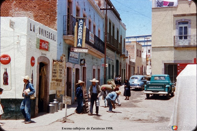 Escena callejera  de Zacatecas 1958.