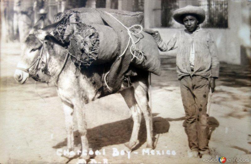 Tipos Mexicanos vendedor de carbon. ( Circulada el 13 de Julioo de 1931 ).