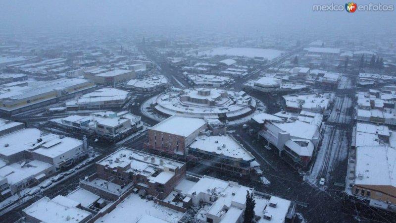 Mercado Juárez con nieve, Cd Delicias Chihuahua.  (Erick Robledo)