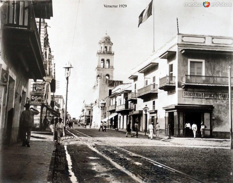 Escena callejera  de Veracruz fechada en 1929.