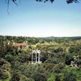 Panorámica de la cascada de Atlihuetzía y el Hotel Misión. Atlihuetzía, Tlaxcala