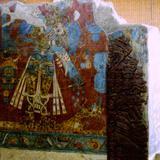 """Pintura Mural """"El Guerrero Jagüar"""" de la cultura olmeca. Cacaxtla, Tlaxcala"""