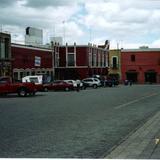 Portales en la plaza central de Huamantla, Tlaxcala