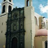 Portada de estilo barroco de la parroquia de San Luis, siglo XVIII. Huamantla, Tlaxcala