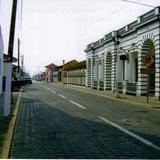 Calle típica con portales en el centro de Tlacotalpan, Veracruz