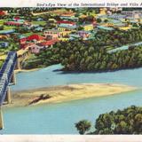 Vista aérea del puente internacional y Villa Acuña