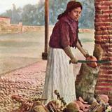Muchacha cortando cocos