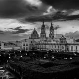 Panorámica de Sahuayo Michoacan en blanco y negro