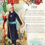 Miguel Hidalgo en una tarjeta postal del Centenario de la Independencia de México, en 1910