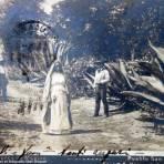 Pueblo de San Lucas Xochimanca, Xochimilco Por el fotografo Abel Briquet ( Circulada el 5 de Octubre de 1906 ).