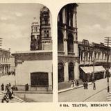 El Mercado Teatro y la Catedral Foto Estereoscopica.