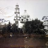 Jardin e Iglesia de Santo Domingo por el fotografo Felix Miret (Circulada el 8 de Julio de 1910 ).