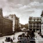 Calle de Tacuba Por el fotografo Hugo Brehme ( Circulada el 9 de Mayo de 1925 ).