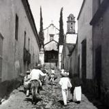 Calle de Tepetates Por el fotografo Hugo Brehme ( Circulada el 11 de Septiembre de 1934 ).