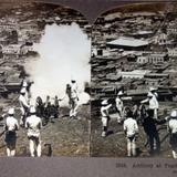 Artilleria en practica 1904 foto estereoscopica.