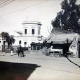Lugar no identificado anuncio de la plaza de toros El Toreo y estacion ferroviaria en 1909 .