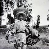 Tipos Mexicanos un nativo vendedor de canastas ( Circulada el 21 de Julio de 1937 ).