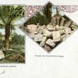 Indígena partiendo piedras y trozos de arquitectura maya