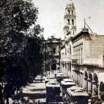 Portal Aldama y lado norte de la plaza ( Circulada el 20 de Enero de 1917 ).